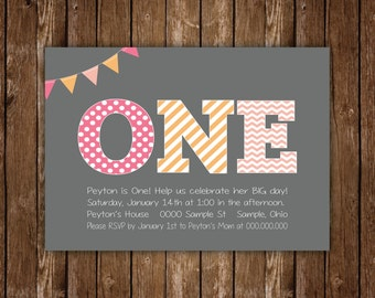 ONE ! First Birthday Invitation