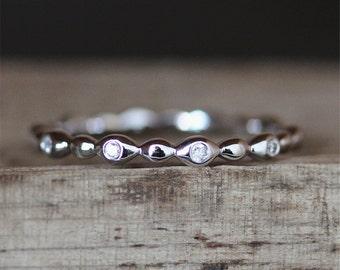 Vintage Wedding Ring Danity Diamond Band Half Eternity Pave Diamonds Ring Stackable Match Ring 14K White Gold Ring Bridal Band