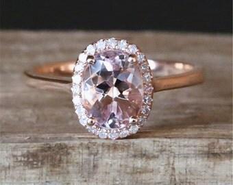Natural Morganite Engagement Ring VS 6*8mm Oval Cut Fancy Pink Morganite Ring Stackable Ring Gmestone Ring 14K Rose Gold Engagement Ring