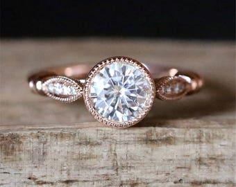 C&C 1.0CT Moissanite Engagement Ring Milgrain Bezel Ring Forever Classic 6.5mm Round Cut Moissanite Ring 14K Rose Gold Engagement Ring