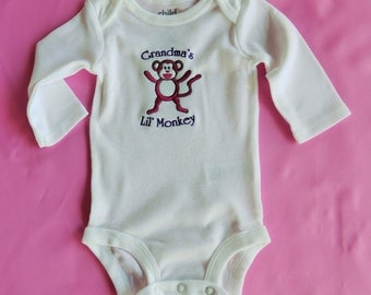 Onesie Grandma' Lil Monkey Embroidered