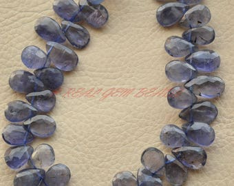 Gorgeous 9 Inch Strand, Natural Iolite Pear, Iolite Faceted Pear Shape Briolettes, 11-13 MM, Water Sapphire Beads, High Quality