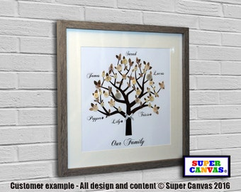 "Our Family Tree Glass Framed 16"" x 16"" with Buttons"