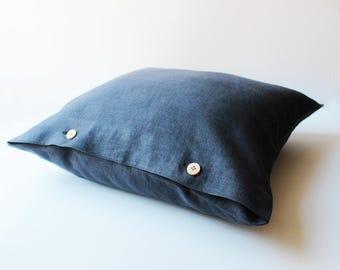 Charcoal Softened Linen Pillow,  Grey Linen Pillow, Dark Grey Pillow Cover, Custom Size Linen Pillow Cover,  Grey Linen Pillow with Buttons