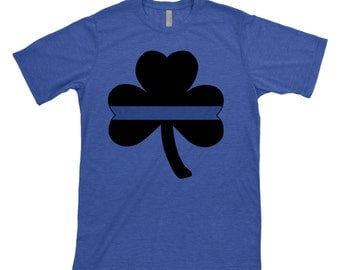 Thin Blue Line - Shamrock - Clover - Police - Policemen - Officer - Back the Blue - Irish - Cop - St Patricks Day - shirt