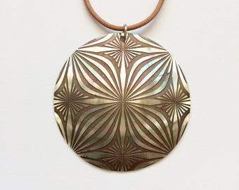 Brown leather and Pearl pendant necklace