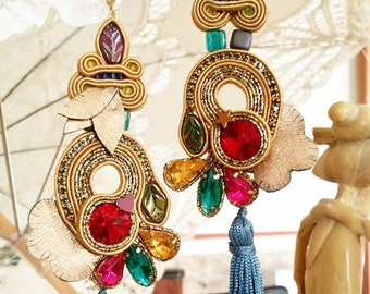 Golden hand embroidered earrings with swarovski cristals soutache, multicolor