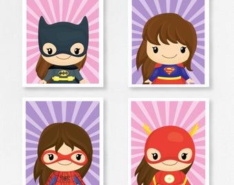 Set 4 Superhero Girl Prints - Mix And Match
