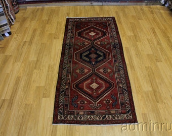 Antique Signed Tribal Hallway Meshkin Runner Persian Oriental Area Rug 4X9