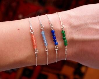Beaded Bar Bracelet, Bar bracelet, gemstone bar bracelet, delicate gemstone Bracelet, thin bracelet bar, gemstone bracelet,