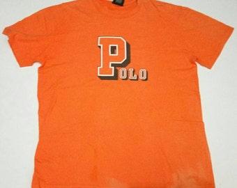 Vintage Polo Sport Ralph Lauren T Shirt size Large Orange Mens