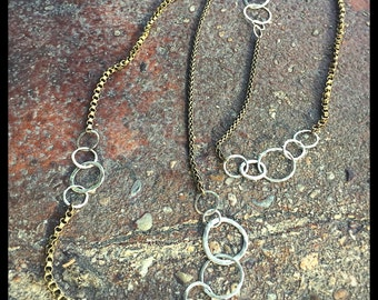Broken Circles -necklace (sterling/brass)