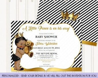 Little Prince Black Gold White Teddy Bear Gold Crown Stripes Invitation | African American | Personalized Invitation