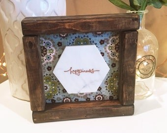 Marble Happiness Sign in Walnut-Stained Farmhouse Frame.