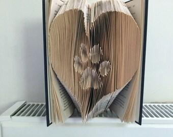 Dog paw heart book art / Birthday present / Christmas Gift / Animal Lover / Home Decoration