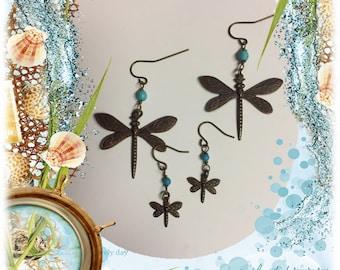 Vintaj Brass Dragonfly Earrings