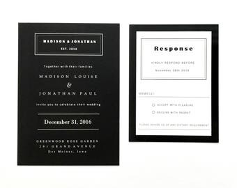 Solid Black and White Wedding Invitation Suite - Modern Black Wedding Invitations, Classy Black Wedding Invitation with Modern Font