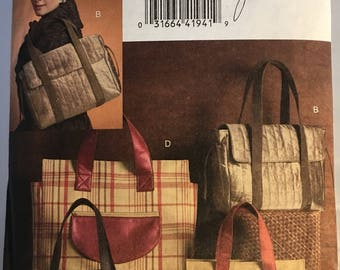 V8439 Vogue Accessories Lined Tote Bag Pattern