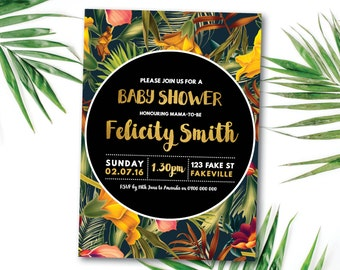 Tropical baby shower invitation, tropical invitation, Hawaiian baby shower invitation, tropical, palm, beach, summer, black, gold (Felicity)