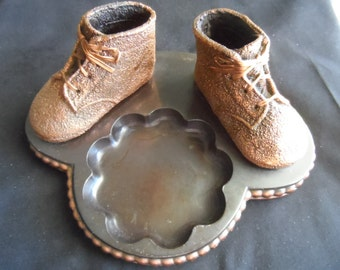 Vintage Mid Century Bronzed Baby Shoes On Stand Spot for Ashtray, Candle candy etc.  Collectible     1069