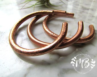 Hammered forged copper bracelet women's healing copper jewelry simple minimalist bracelet solid raw copper stacking brushed or hammered