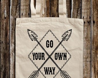 Go Your Own Way Print Canvas Tote Bag