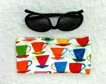 Sunglasses pouch, glasses case, sunglasses storage, glasses case, cute gift, handbag accessories, fully lined, quilted storage, teacup print