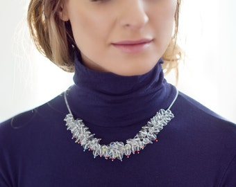 Rock crystal statement necklace with tiny Swarovski crystals on a chain made of stainless steel. Fantastically beautiful! Rock Crystal Necklace.