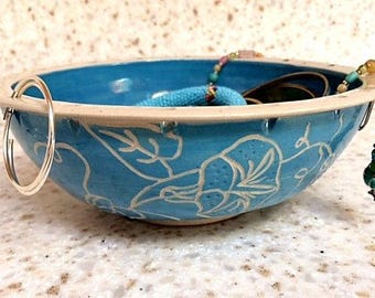 Hand carved floral jewelry bowl, handmade ceramic earring holder, turquoise pottery jewelry organizer
