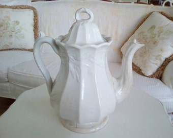 Antique White Ironstone Coffee Pot