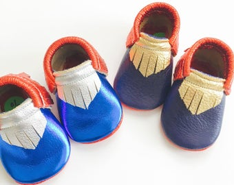 "Superhero inspired Baby Moccasins in 3.5"" soles"