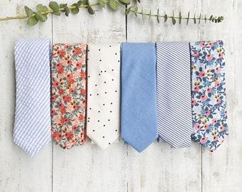 Men's Neckties - Father's Day Tie - Mens Tie - Wedding Tie - Skinny Tie - Floral Tie - Polka Dot Tie - Stripe Tie - Chambray Tie