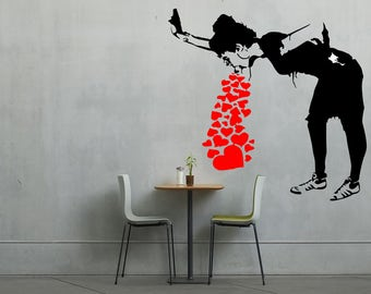 Banksy Girl Spewing love vinyl wall art
