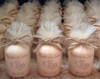 Vintage style shabby chic 5cm scented votive candle personalised wedding favours (set of 90)