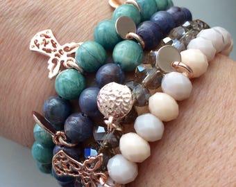 4 elastic bracelets set summer