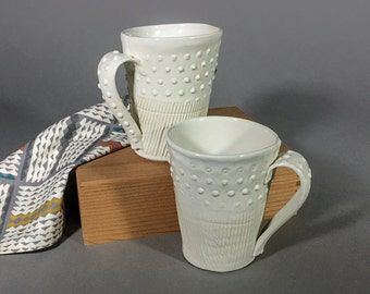 Pair of Mugs, White Dot and Stripe Texture
