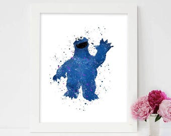 Cookie Monster Poster,Cookie Monster print,Sesame Street,Sesame Street art,Cookie Monster's Best Bites,The Adventures of Elmo in Grouchland