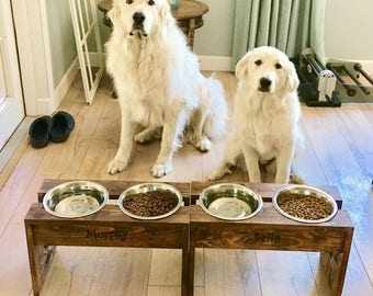 Rustic Dog Food Bowl Stand w/ Name Plate