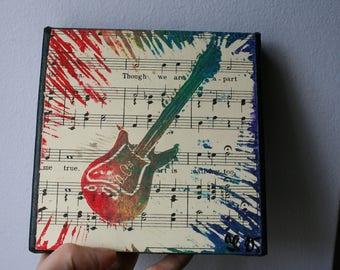 Electric Guitar Linocut Print on Vintage Music Sheets (Canvas)