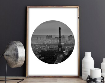 SALE! Paris, Eiffel Tower, Black and White, Circle Print, Photo Print, Photography, Printable, Instant, Urban, Romantic