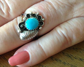 Old Pawn Native American Sterling Turquoise Ring