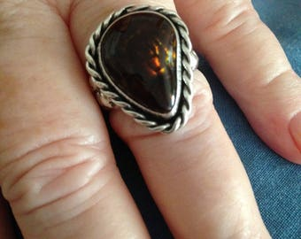 Silver Mexican Agate Ring