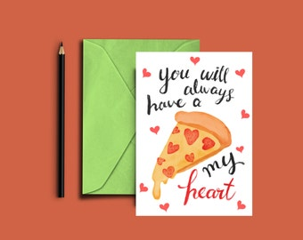 Cute love card for your sweetheart! Cute Pizza Card, I Love You, I Love You Card, Love Card, Love Cards, Anniversary Card, Blank Card