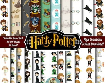 Harry Potter Digital Paper, Harry Potter Scrapbook Paper, Harry Potter Paper, Hogwarts, Deathly Hallows, Harry Potter Printable Paper
