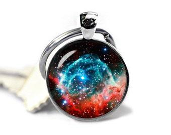 Nebula Keychain Thors Helmet  Keyfob Nebula Keyring Space Keychain