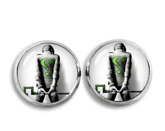 Riddler Stud Earrings Riddler  earrings Comics Fandom Jewelry Cosplay Fangirl Fanboy