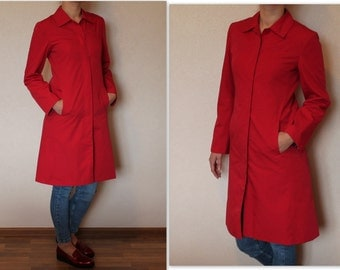 Vintage Red Coat Women's Trench Coat Midi Rain Coat Preppy Trenchcoat Classic Raincoat Outerwear Medium Size