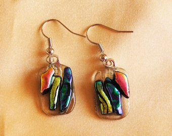 Petite Dangle Earrings!/ Glass Earrings/ Summer Earrings/Dichroic Glass Earrings/Summer Jewelry