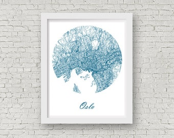 Oslo Norway Etsy - Norway map poster