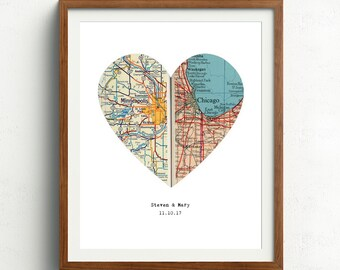 Personalized map, Heart map print, Anniversary gift, Map print, Custom wedding gift, Paper Anniversary, Map Art, Engagement gift